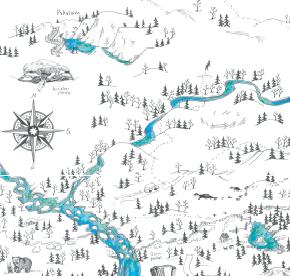 Elsa-Maria Kaulasen Kolarin kartta, kohdistettu Äkäsjokisuu