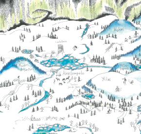 Elsa-Maria Kaulasen Kolarin kartta, kohdistettu Äkäslompolo