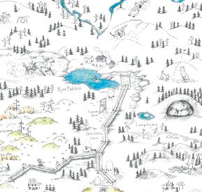 Elsa-Maria Kaulasen Kolarin kartta, kohdistettu Kurtakko