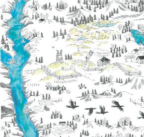 Elsa-Maria Kaulasen Kolarin kartta, kohdistettu Lappea