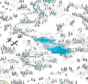 Elsa-Maria Kaulasen Kolarin kartta, kohdistettu Pasmajärvi