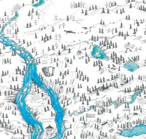 Elsa-Maria Kaulasen Kolarin kartta, kohdistettu Saarenpudas