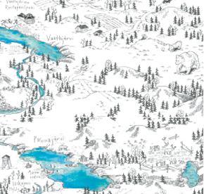 Elsa-Maria Kaulasen Kolarin kartta, kohdistettu Ruokojärvi-Taapajärvi