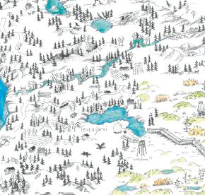 Elsa-Maria Kaulasen Kolarin kartta, kohdistettu Teurajärvi