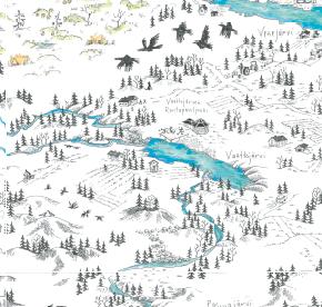 Elsa-Maria Kaulasen Kolarin kartta, kohdistettu Vaattojärvi
