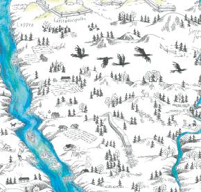 Elsa-Maria Kaulasen Kolarin kartta, kohdistettu Väylänpä-Kallioniemi