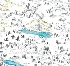 Elsa-Maria Kaulasen Kolarin kartta, kohdistettu Venejärvi