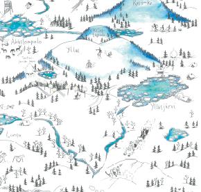 Elsa-Maria Kaulasen Kolarin kartta, kohdistettu Ylläsjärvi