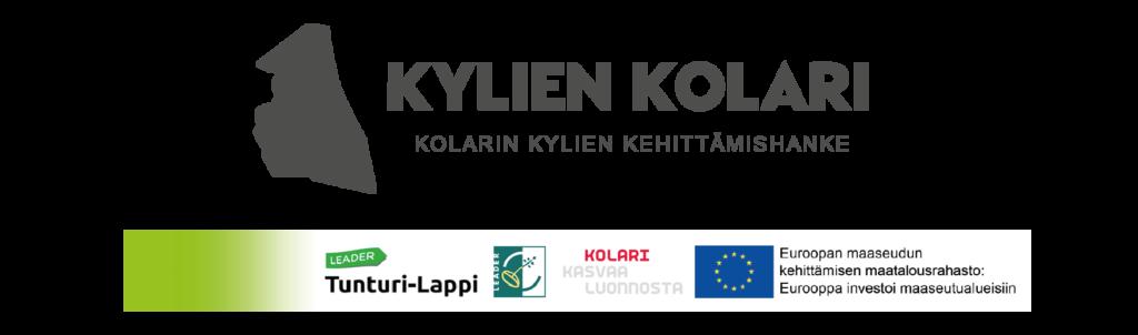 Kolarin kylien kehittämishanke logo, Leader tunturilappi logo, Leader logo. Kolarin kunnan slogan, EU:n maaseuturahasto logo